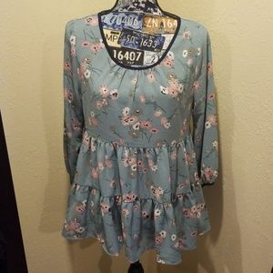 Three Quarter Sleeved Floral Tiered Blouse